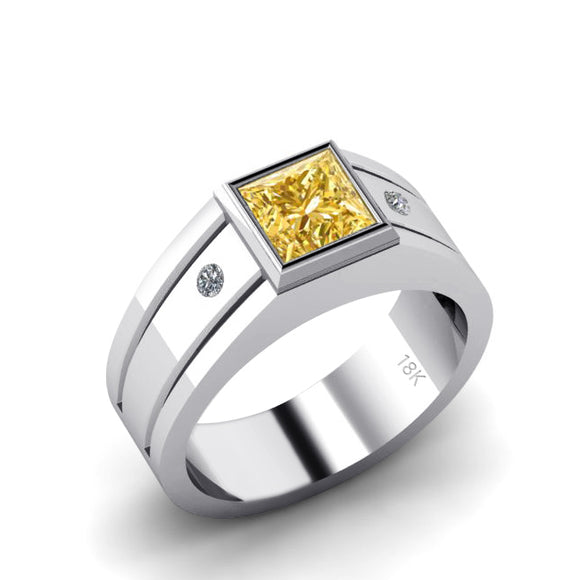 Gem Ring for Man 18K White Gold with Square Citrine and Diamonds Engraved Male Signet Ring