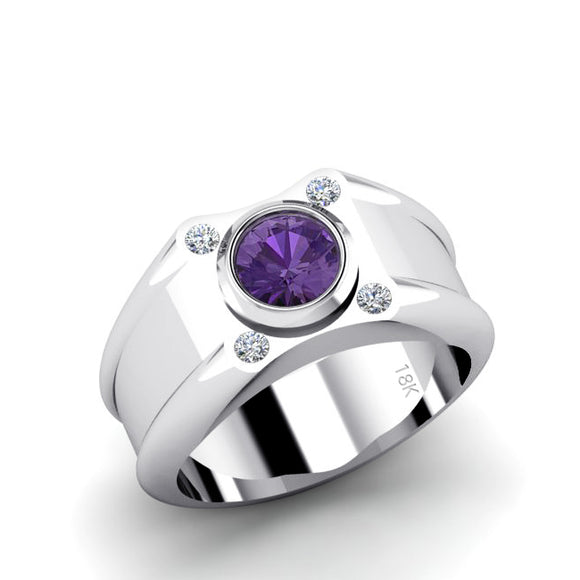 18K Gold High Polished Diamond Men's Ring with 1.70ct Round Purple Amethyst Stone Male Band