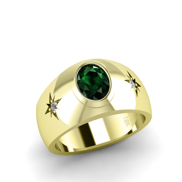 Men's Ring in Solid 18K Yellow Gold Oval Emerald Gemstone with Diamonds Male Solitaire Ring