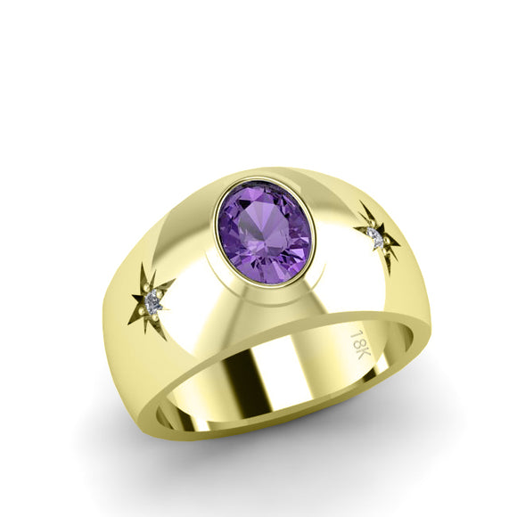 Men's Thick Band Ring in 18K Solid Gold with Diamonds Amethyst Gemstone Wedding Jewelry
