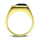Mens Solid 10K Gold Blue Sapphire Ring 0.06ct Natural Diamonds Fine Ring for Man