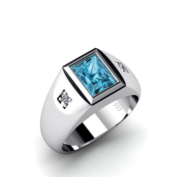 Classic Men's Ring 2 Natural Diamonds and Topaz Gemstone in Solid 925 Silver