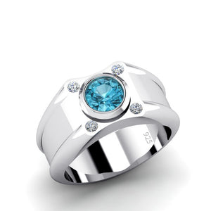 Aquamarine Men's Ring with 4 Diamonds 0.12ctw in Sterling Silver Male Jewelry