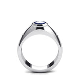 Huge SAPPHIRE Mens Ring with 2 DIAMOND Accents in Real Solid 925 Sterling Silver