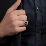 Huge Mens Ring Sapphire with 2 DIAMOND Accents in Real Solid 925 Sterling Silver