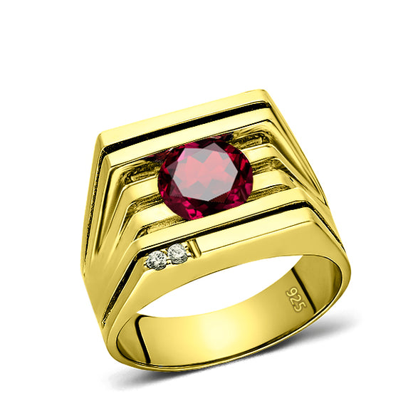 925 Real Solid Silver 18K Gold Plated Red Ruby 2 Diamond Accents Mens Ring