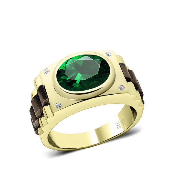 Men's Silver Ring with Green Stone and Natural Diamonds Yellow Gold Plated Fine Jewelry