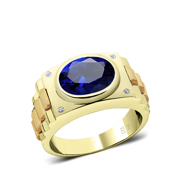 Sterling Silver Blue Sapphire Ring for Man Gold Plated Band with Natural Diamonds 25th Anniversary Gift