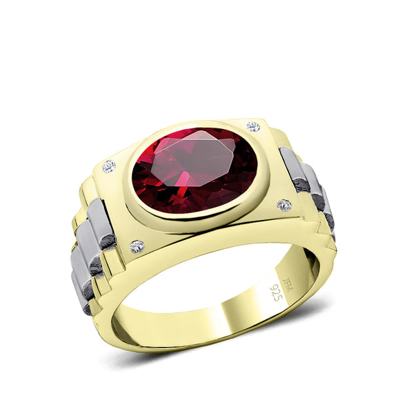 925 Silver Ring with Ruby 5 Stone Genuine DIAMOND Band Gold Plated Red Gemstone Jewelry