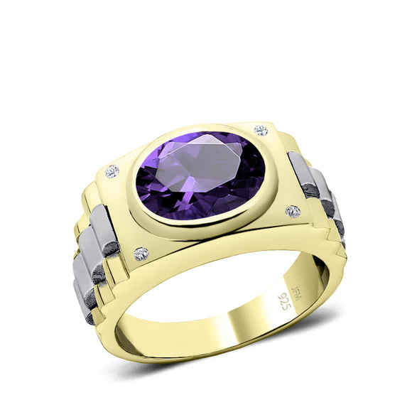 925 Sterling Silver Diamond Ring for Man Gold Plated Band 12x10 mm Oval Amethyst Male Gift
