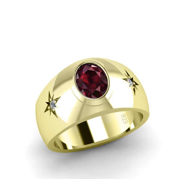 Red Stone Ring for Man with 2 DIAMONDS 0.06ctw in Yellow Gold-Plated Silver Ruby Birthstone gift