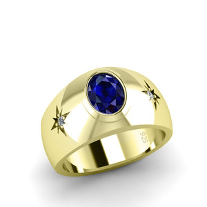 Unique Men's Ring 2.40ctw Sapphire with 2 Diamonds in Yellow Gold-Plated Sterling Silver
