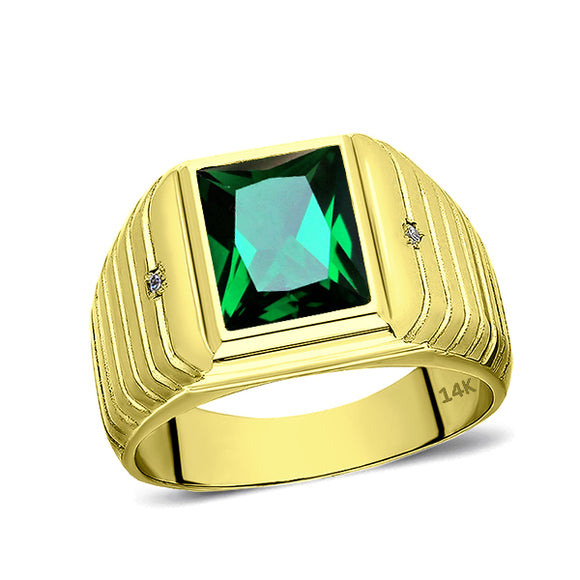 Men's Green EMERALD Band Ring with DIAMOND Accents 14K Fine Yellow Gold all sz