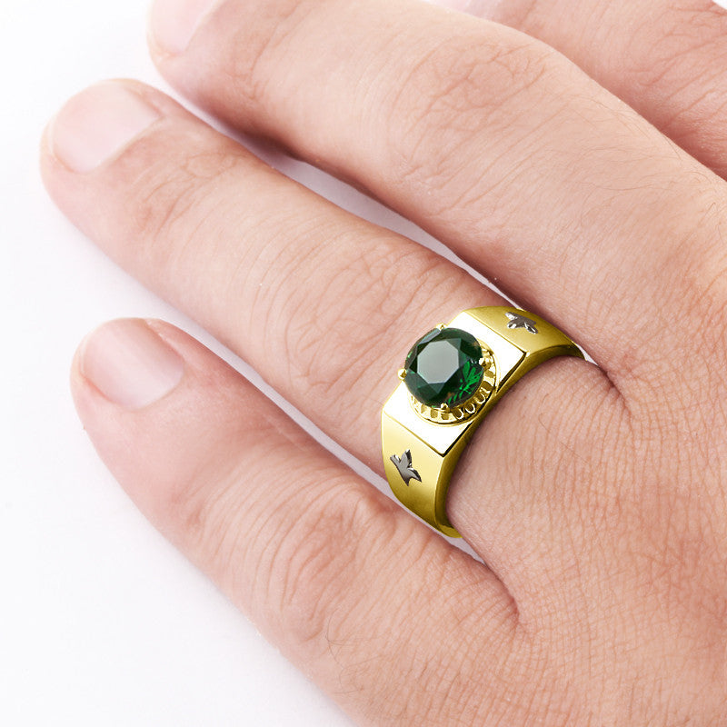 Men's Ring with Green Emerald Gemstone in 10k Yellow Gold - J  F  M