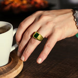 Real 18k Yellow Gold Real Diamond Mens Statement Wedding Ring with Green Emerald