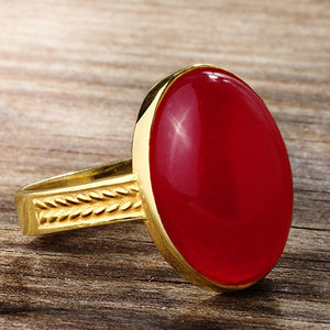 Agate Men's Ring in 10k Yellow Gold, Natural Red Stone Ring for Men - J  F  M
