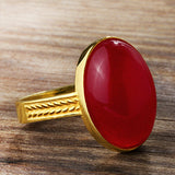 Men's Ring 14k Solid Gold with Red Agate Cabochon Stone - J  F  M