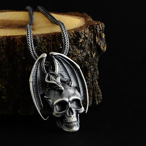 Victorian Gothic Dragon Embracing Skull 925 Silver Dragon and Skull Men's Pendant Necklace