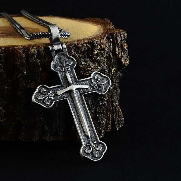Cross Pendant Necklace Charm with Sword 925 Sterling Silver