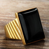 Black Onyx Men's Ring in 10k Yellow Gold, Natural Stone Ring for Men - J  F  M