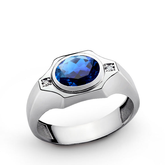 Blue Sapphire Men's Ring with Genuine Diamonds in Sterling Silver - J  F  M
