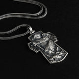 Saint Michael Archangel Cross Charm Necklace Men's Sterling Silver Religious Jewelry Gift