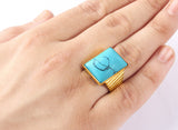 Men's Ring in 10k Yellow Gold with Blue Turquoise, Natural Stone Statement Ring for Men - J  F  M