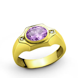 Men's Ring Diamonds with Purple Amethyst in 10k Yellow Gold - J  F  M