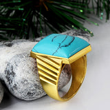 Men's Ring with Blue Turquoise Gemstone in 14k Yellow Gold - J  F  M