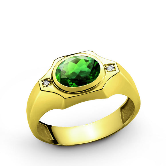 Emerald Men's Ring with Natural Diamonds in 10k Yellow Gold, Men's Gemstone Ring - J  F  M