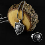 Silver Bear Head Man Pendant Oxidized Necklace with Chain 925 Silver Scandinavian Men Jewelry