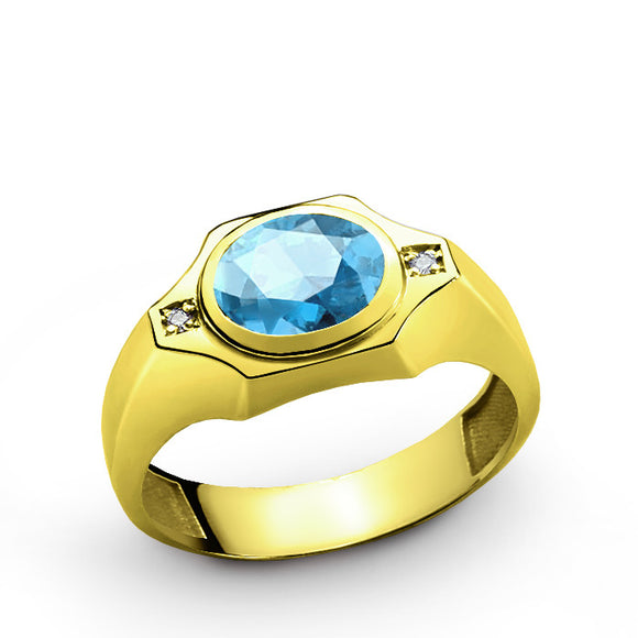 Men's Ring with Blue Topaz and Natural Diamonds in 10k Gold, Statement Ring for Men - J  F  M