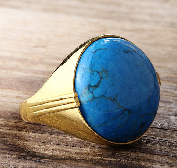 Blue Turquoise Ring for Men in 14k Yellow Gold, Artdeco Statement Men's Ring - J  F  M