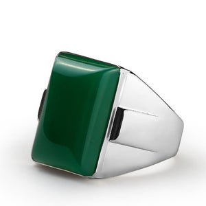 Men's Sterling Silver Ring with Green Agate Natural Gemstone - J  F  M