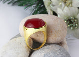 Men's Ring with Red Agate Stone in 14k Yellow Gold - J  F  M