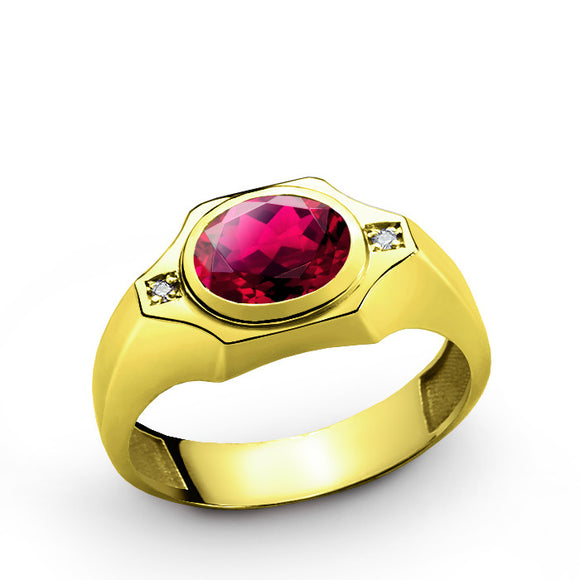 10k Yellow Gold Men's Ring with Red Ruby and Genuine Diamonds - J  F  M