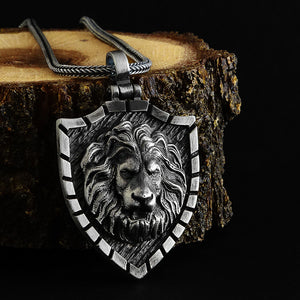 Sterling Silver Lion Head Mens Pendant Necklace With 925 Silver Chain
