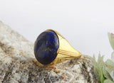 Men's Statement Ring in 10k Yellow Gold with Natural Blue Lapis Stone - J  F  M