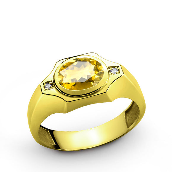 Men's Ring in 10k Gold with Citrine and Natural Diamonds, Men's Gemstone Ring - J  F  M