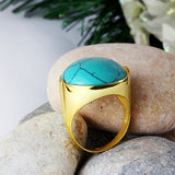 Men's Ring with Blue Turquoise Natural Stone in 14k Yellow Gold - J  F  M