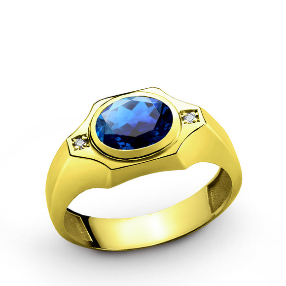 Men's Ring 10k Gold with Blue Sapphire Gemstone and Genuine Diamonds - J  F  M