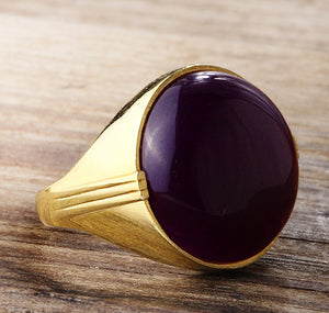 Men's Ring 10k Gold with Purple Agate, Natural Stone Ring for Men - J  F  M