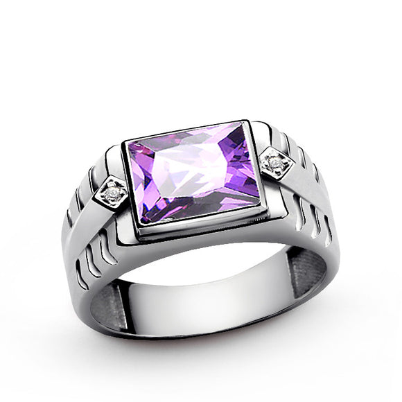Men's Diamonds Ring in Sterling Silver with Amethyst Gemstone - J  F  M