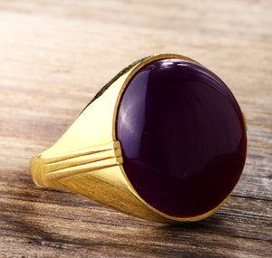 Men's Ring with Natural Agate Stone in 14k Yellow Gold - J  F  M