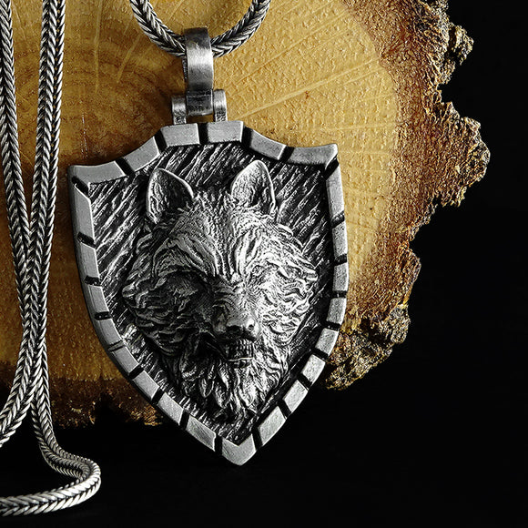 Wolf Head Necklace Oxidized 925 Sterling Silver Mens Pendant With Silver Chain