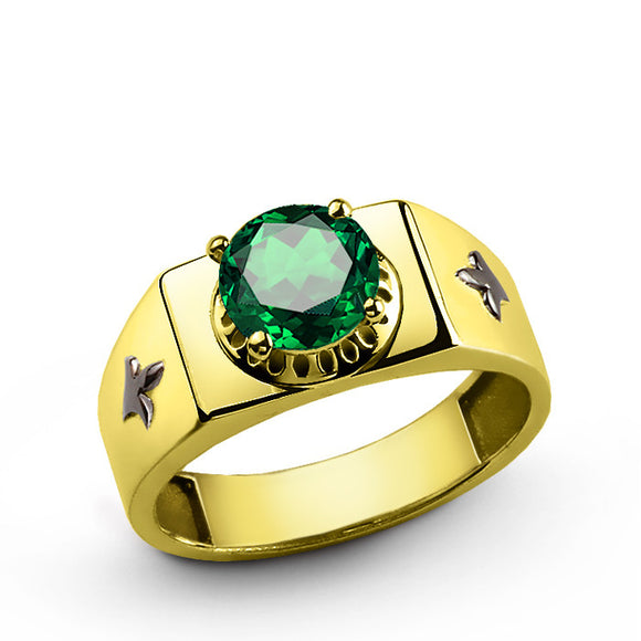 14k Yellow Gold Men's Ring with Green Emerald Gemstone - J  F  M