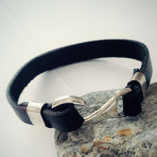 Bracelet for Men Leather with 925 Sterling Silver, Men's Bracelet with Hook Clasp - J  F  M