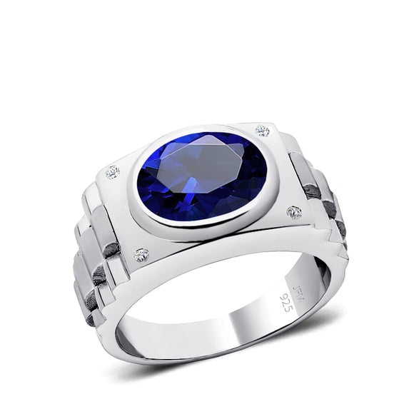 Blue Sapphire Ring for Man with Natural Diamonds Male Gemstone Wedding Band Virgo Jewelry