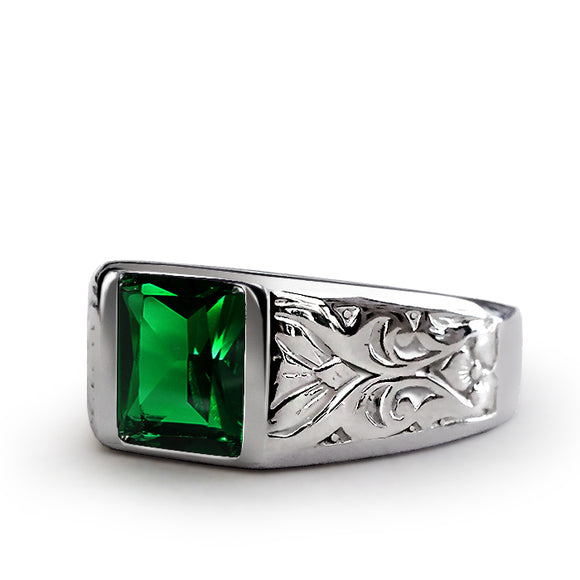 NEW Mens Ring with Green Emerald Gemstone in 925k SOLID Sterling Silver