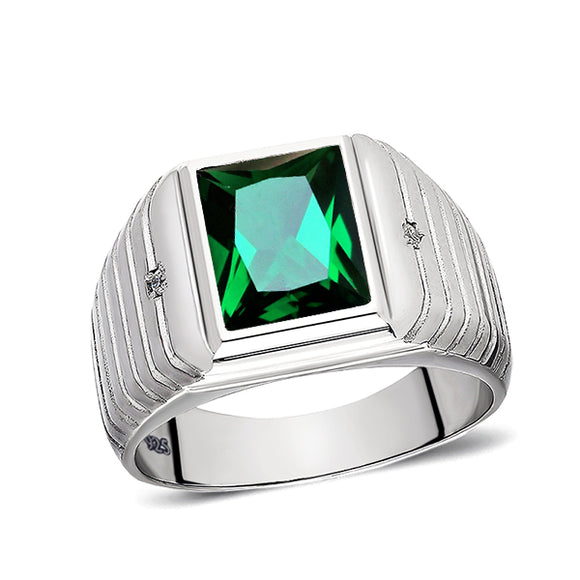 Green Emerald Ring for Men 2 Diamond Accents Real 925 Solid Sterling Silver Ring